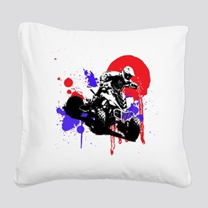 Red Splatter ATV Square Canvas Pillow